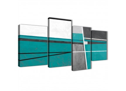 Teal Grey Abstract Painting Canvas Wall Art