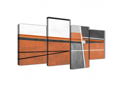 Burnt Orange Grey Painting Abstract Canvas Wall Art