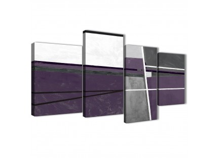 Aubergine Grey Abstract Painting Canvas Pictures
