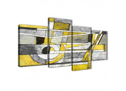 Yellow Grey Abstract Painting Canvas Wall Art