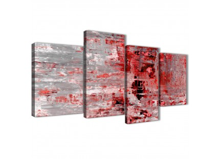 Red Grey Abstract Canvas Wall Art Pictures