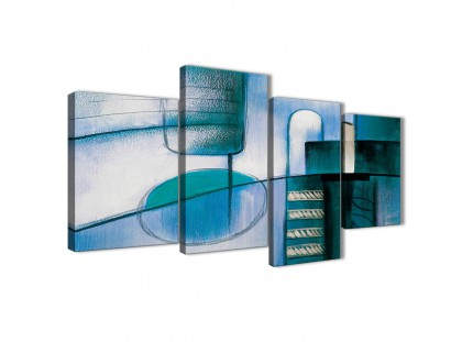Teal Cream Abstract Painting Canvas Pictures