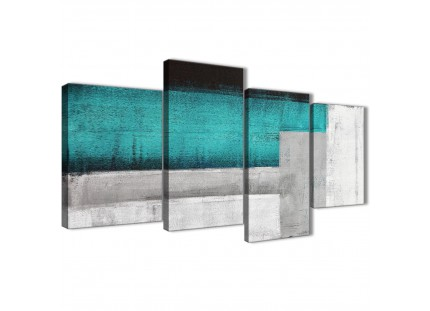 Teal Turquoise Grey Abstract Painting Canvas Pictures