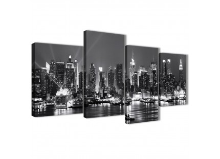New York Skyline Canvas Wall Art - Cityscape - Black White and Grey