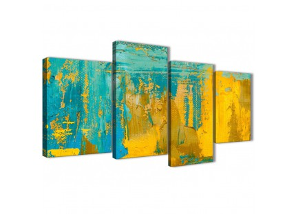 Large Mustard Yellow and Teal Turquoise - Abstract Bedroom Canvas Pictures Decor