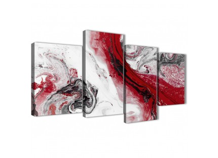 Red and Grey Swirl Living Room Canvas Pictures Accessories - Abstract Print