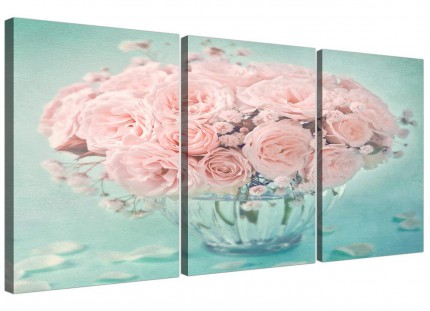 Duck Egg Blue and Pink Roses Flower Floral Shabby Chic Canvas Split 3 Piece - 3287