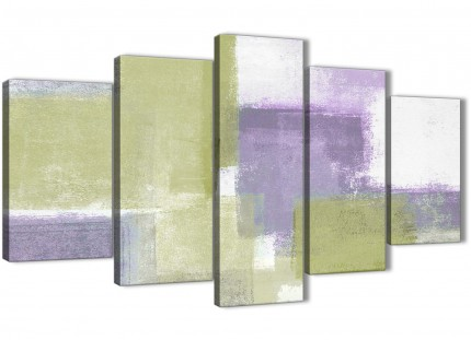 Extra Large Lime Green Purple Abstract Painting Canvas Wall Art Print - Split 5 Panel - 160cm Wide - 5364