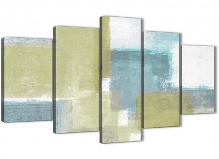 Extra Large Lime Green Teal Abstract Painting Canvas Wall Art Print - Split 5 Part - 160cm Wide - 5365