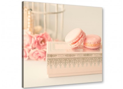 Pink Cream French Shabby Chic Bedroom Abstract Canvas Modern 64cm Square - 1s284m