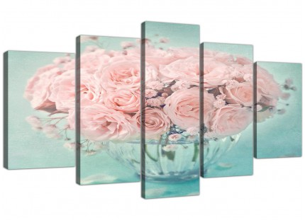 Extra Large Duck Egg Blue and Pink Roses Flower Floral Shabby Chic Canvas Split 5 Piece - 5287