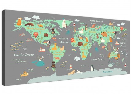 Animal Map of World Atlas Canvas Art for Childrens Bedroom - Educational Kids Pictures - 120cm Wide - 1294