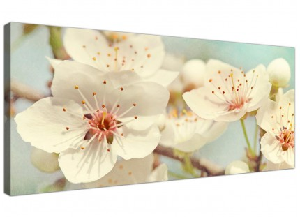 Japanese Cherry Blossom Duck Egg Blue White Floral Canvas Modern 120cm Wide - 1289