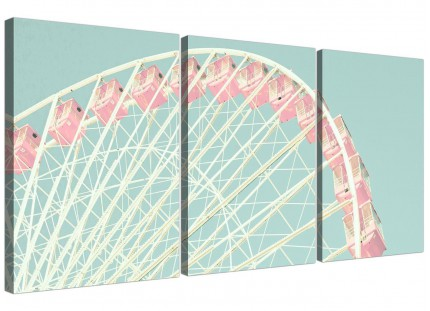 Shabby Chic Duck Egg Blue Pink Ferris Wheel Canvas Split 3 Panel - 3282