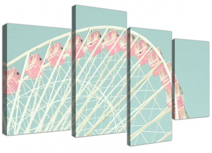Large Shabby Chic Duck Egg Blue Pink Ferris Wheel Canvas Split 4 Part - 4282