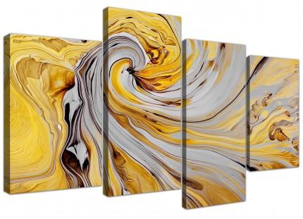 Large Mustard Yellow And Grey Spiral Swirl - Abstract Canvas Multi 4 Panel - 4290