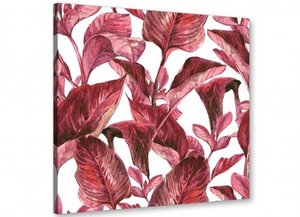 Dark Burgundy Red White Tropical Leaves Canvas Wall Art - Modern 49cm Square - 1s321s