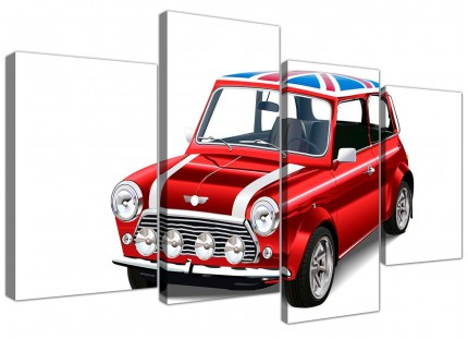 Large Mini Cooper Union Jack Canvas Split 4 Set - 4277