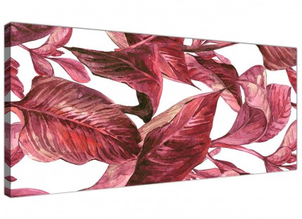 Dark Burgundy Red White Tropical Leaves Canvas Wall Art - Modern 120cm Wide - 1321