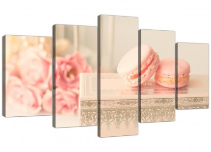 Extra Large Pink Cream French Shabby Chic Bedroom Abstract Canvas Multi 5 Panel - 5284