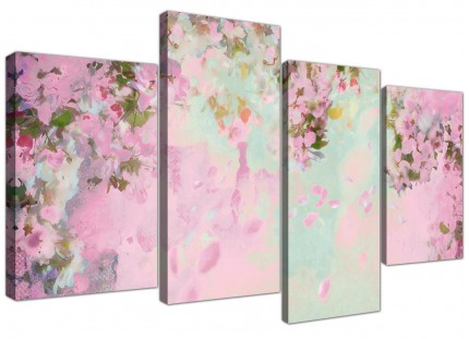 Large Shabby Chic Pale Dusky Pink Floral Canvas Split 4 Panel - 4281