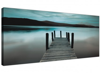 Large Teal Grey Coloured Lake Jetty View Landscape Canvas Wallart - 120cm - 1237
