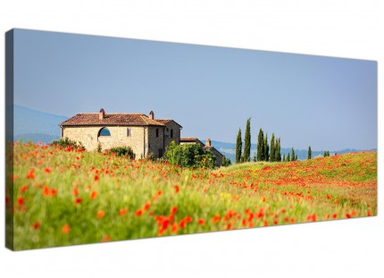 Red Poppy Tuscan Meadow Landscape Canvas Art Tuscany Italy