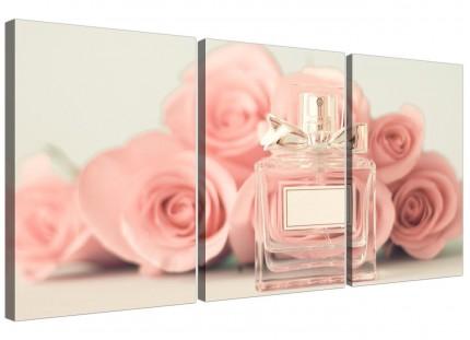 Shabby Chic Pink Cream Rose Perfume Girls Bedroom Canvas Split 3 Piece - 3285