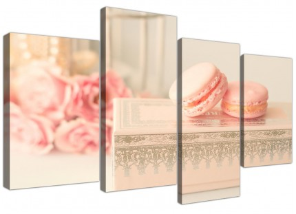 Large Pink Cream French Shabby Chic Bedroom Abstract Canvas Multi 4 Set - 4284