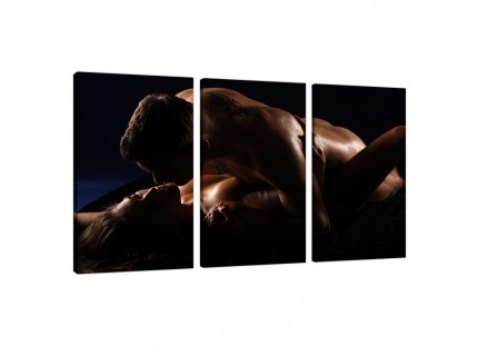 Modern Bedroom Romantic Couple Nude Erotica Canvas - 3 Piece - 125cm - 3133