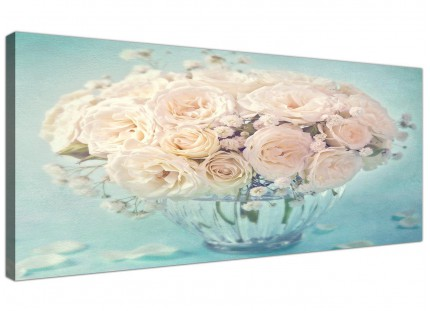 Duck Egg Blue & White Roses Flowers Floral Shabby Chic Floral Canvas Modern 120cm Wide - 1286