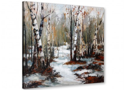 Woodland Winter Trees Forest Scene Landscape Canvas Modern 49cm Square - 1s295s