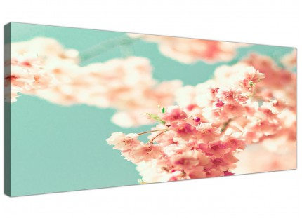 Japanese Cherry Blossom Shabby Chic Pink Blue Floral Canvas Modern 120cm Wide - 1288