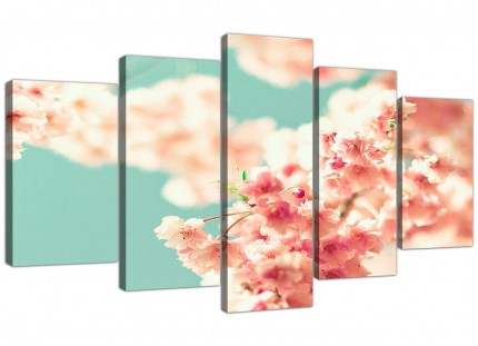 Extra Large Japanese Cherry Blossom Shabby Chic Pink Blue Floral Canvas Multi 5 Part - 5288