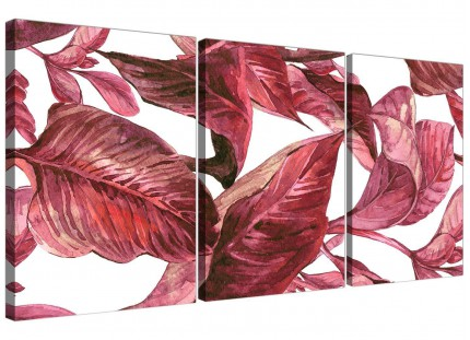 Dark Burgundy Red White Tropical Leaves Canvas Wall Art - Multi 3 Piece - 3321