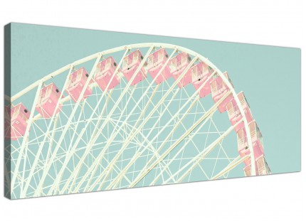 Shabby Chic Duck Egg Blue Pink Ferris Wheel Canvas Modern 120cm Wide - 1282