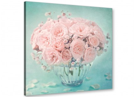 Duck Egg Blue and Pink Roses Flower Floral Shabby Chic Canvas Modern 64cm Square - 1s287m