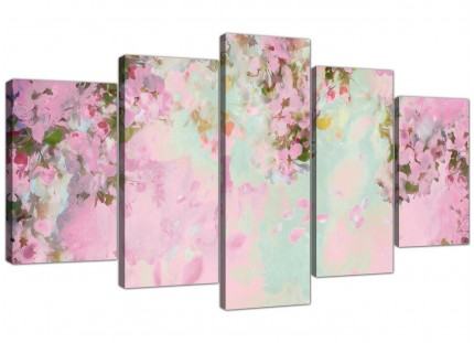 Extra Large Shabby Chic Pale Dusky Pink Floral Canvas Split 5 Part - 5281