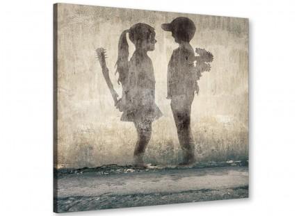 Banksy Boy Meets Girl Graffiti Canvas Modern 49cm Square - 1s291s
