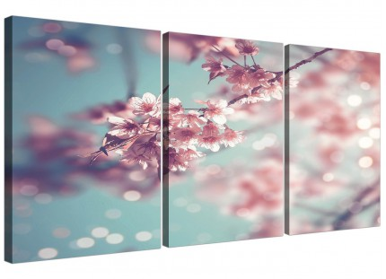 Duck Egg Blue Pink Shabby Chic Blossom Floral Canvas Split 3 Part - 3280