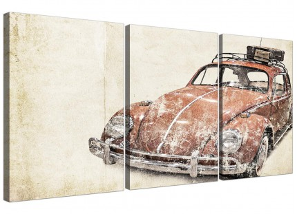 VW Beetle Bug - Rat Look Surfer Brown Volkswagen Abstract Canvas Split Set of 3 - 3279