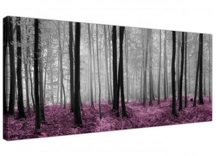 Large Black Grey Plum Purple Forest Trees Landscape Canvas Prints - 120cm - 1240