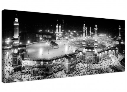 Black and White Islamic Canvas Art - Panoramic Mecca Print