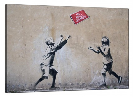 Large Banksy No Ball Games Modern Canvas Art - 91cm - 182L