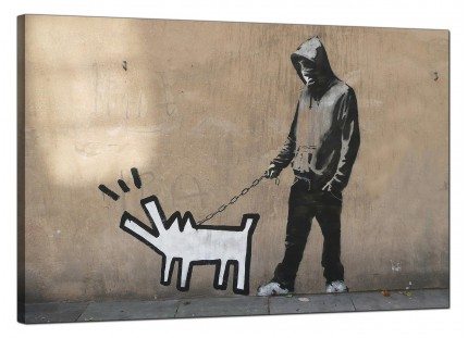 Large Banksy Keith Haring Dog Modern Canvas Art - 91cm - 181L