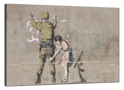 Large Banksy Frisk - Girl Searches a Soldier Modern Canvas Art - 91cm - 165L