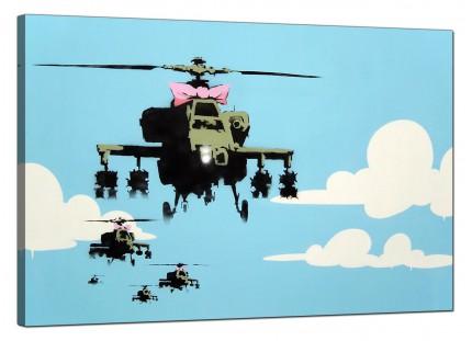 Large Banksy Happy Choppers Modern Canvas Art - 91cm - 172L