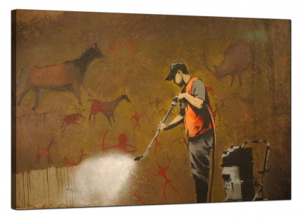 Large Banksy Cave Painting Removal Modern Canvas Art - 91cm - 168L
