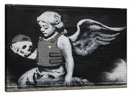 Large Banksy Ozones Angel Modern Canvas Art - 91cm - 155L