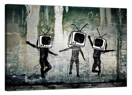 Large Banksy Banksy Modern Canvas Prints - TV Heads Canvas Art - 91cm - 177L